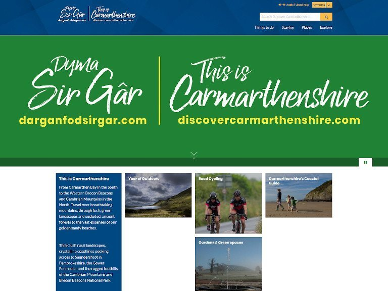 Discover Carmarthenshire website screenshot